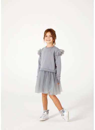Pinolini Gri Tütülü Elbise Gri
